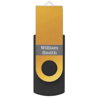 Luxury gold and carbon business swivel USB 2.0 flash drive