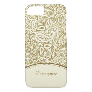 Luxury Gold and Ivory Paisley Damask With Name iPhone 7 Case