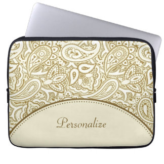 Luxury Gold and Ivory Paisley Damask With Name Laptop Sleeve