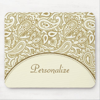 Luxury Gold and Ivory Paisley Damask With Name Mouse Pad