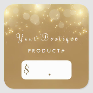 Luxury Gold Bokeh Glamour Boutique Price Tags Square Sticker