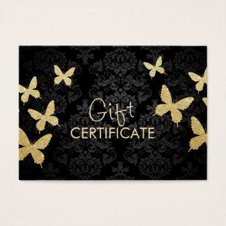 Luxury Gold Butterflies Damask Gift Certificate