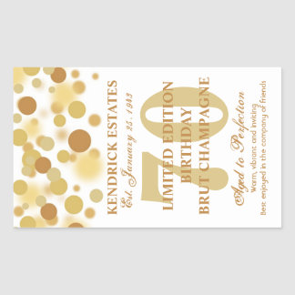 Luxury Gold Champagne Bubbles Birthday Label 750ml Rectangular Sticker