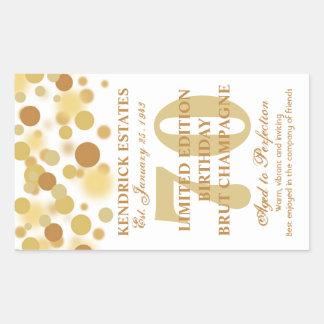 Luxury Gold Champagne Bubbles Birthday Label 750ml Rectangular Sticker