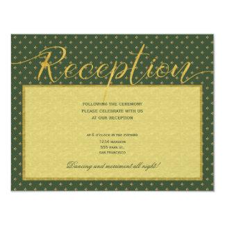 Luxury gold elegant green fleurdelis reception card