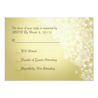 Luxury Gold Floral Spring Blanket RSVP card 13 Cm X 18 Cm Invitation Card