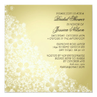 Luxury Gold Floral Spring Blanket Shower Invite Personalized Announcement