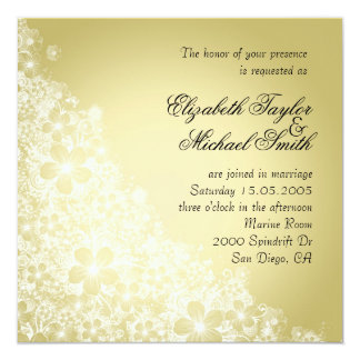 Luxury Gold Floral Spring Blanket Wedding Invite