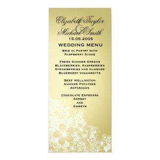 Luxury Gold Floral Spring Blanket Wedding Menu 10 Cm X 24 Cm Invitation Card