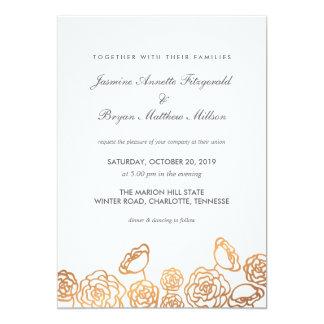 Luxury Gold Foil Floral Modern Wedding 13 Cm X 18 Cm Invitation Card