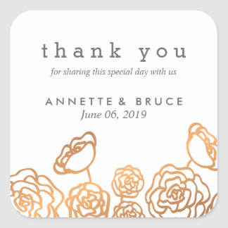 Luxury Gold Foil Floral Wedding Thank You Square Sticker