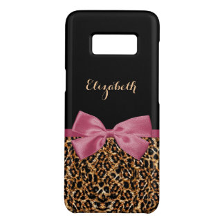Luxury Gold Fur Leopard Print Mauve Bow With Name Case-Mate Samsung Galaxy S8 Case