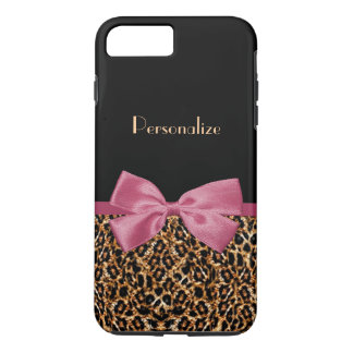 Luxury Gold Fur Leopard Print Mauve Bow With Name iPhone 8 Plus/7 Plus Case