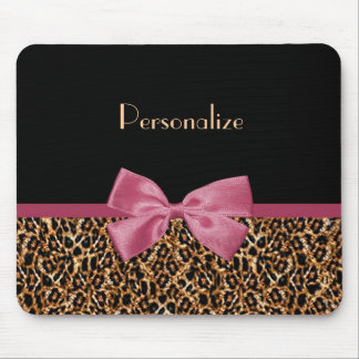 Luxury Gold Fur Leopard Print Mauve Bow With Name Mouse Pad