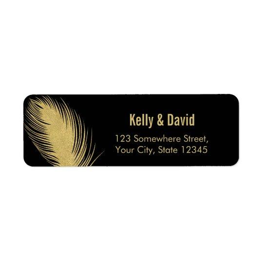 Luxury Gold Glitter Peacock Feather Modern Wedding Return Address Label