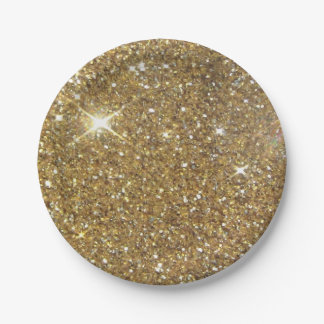 Luxury Gold Glitter - Printed Image 7 Inch Paper Plate