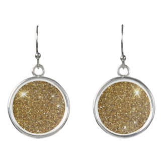 Luxury Gold Glitter - Printed Image Earrings