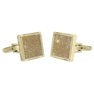 Luxury Gold Glitter - Printed Image Gold Finish Cuff Links