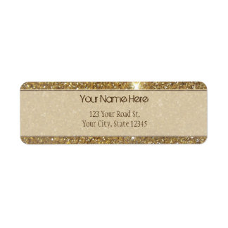 Luxury Gold Glitter - Printed Image Return Address Label