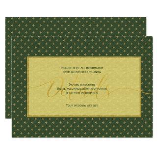 Luxury gold green fleurdelis wedding guest details card