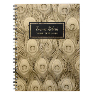 Luxury Gold Peacock Bird Feathers Custom Name Notebook