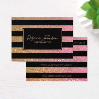 Luxury Gold Pink Glitter Stripes - Business Card