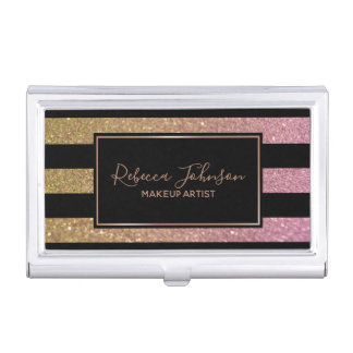 Luxury Gold Pink Glitter Stripes - Card Holder