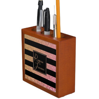 Luxury Gold Pink Glitter Stripes - Desk Organiser