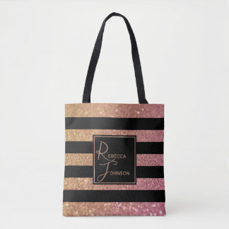 Luxury Gold Pink Glitter Stripes Monogram Name Tote Bag