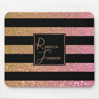 Luxury Gold Pink Glitter Stripes - Mousepad