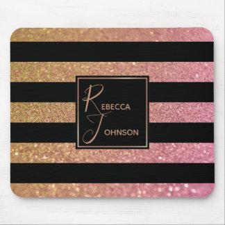 Luxury Gold Pink Glitter Stripes - Mousepad