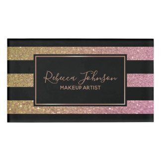 Luxury Gold Pink Glitter Stripes - Name Tag