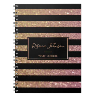 Luxury Gold Pink Glitter Stripes - Notebook