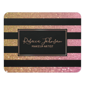 Luxury Gold Pink Glitter Stripes - Room Sign