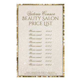 Luxury Gold Shimmer Beauty Salon Price List Flyer