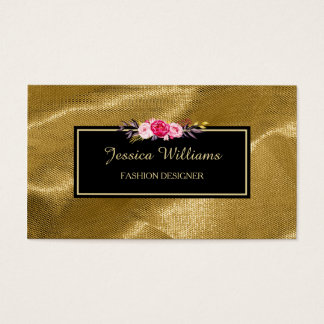 Luxury Gold Textile Pink Floral Fashion Designer