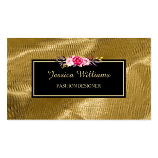 Luxury Gold Textile Pink Floral Fashion Designer Pack Of Standard Business Cards