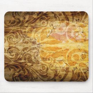 LUXURY GOLDEN SCROLL PATTERN VINTAGE SWIRLS DIGITA MOUSE PAD
