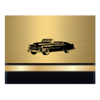 luxury golden  vintage classy old car personalized postcard