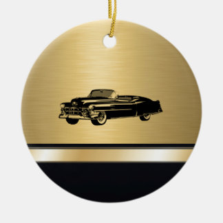 luxury golden  vintage classy old car personalized round ceramic decoration
