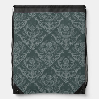 Luxury green floral damask wallpaper drawstring bag