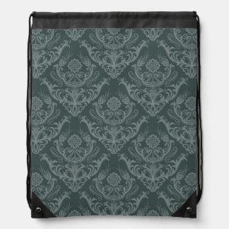 Luxury green floral damask wallpaper drawstring bag