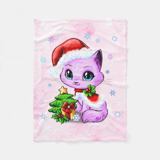 Luxury Hand Drawn Cat Art Fleece Blanket SMALL