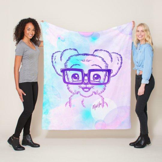 Luxury Hand Drawn Nerdy Dog Fleece Blanket MEDIUM