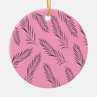 Luxury handdrawn palms / black with pink ceramic ornament