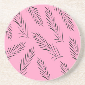 Luxury handdrawn palms / black with pink coaster