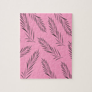 Luxury handdrawn palms / black with pink jigsaw puzzle