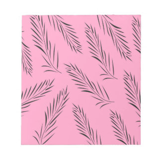 Luxury handdrawn palms / black with pink notepad