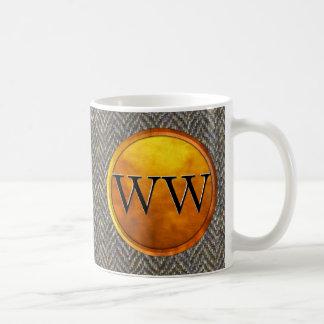 Luxury Herringbone Tweed and Gold Monogram Mugs