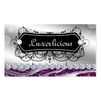 Luxury Jewelry Salon Fashion Zebra Purple Glitter Business Card